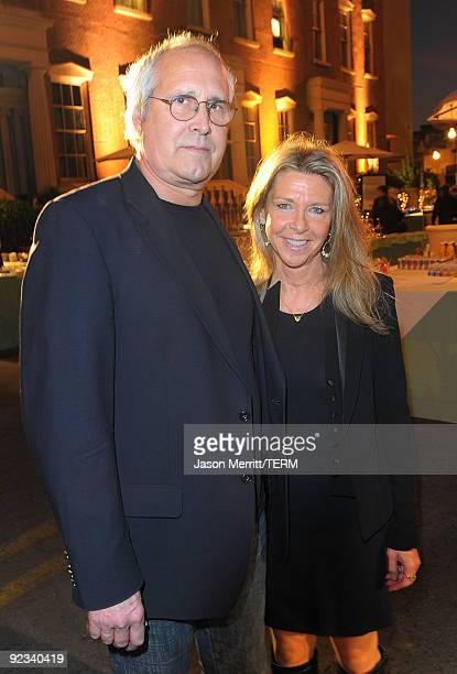 Chevy Chase and his wife Jayni Chase pose during the 20th Anniversary 2009 EMA Awards held on the backlot at Paramount Studios on October 25 2009 in...