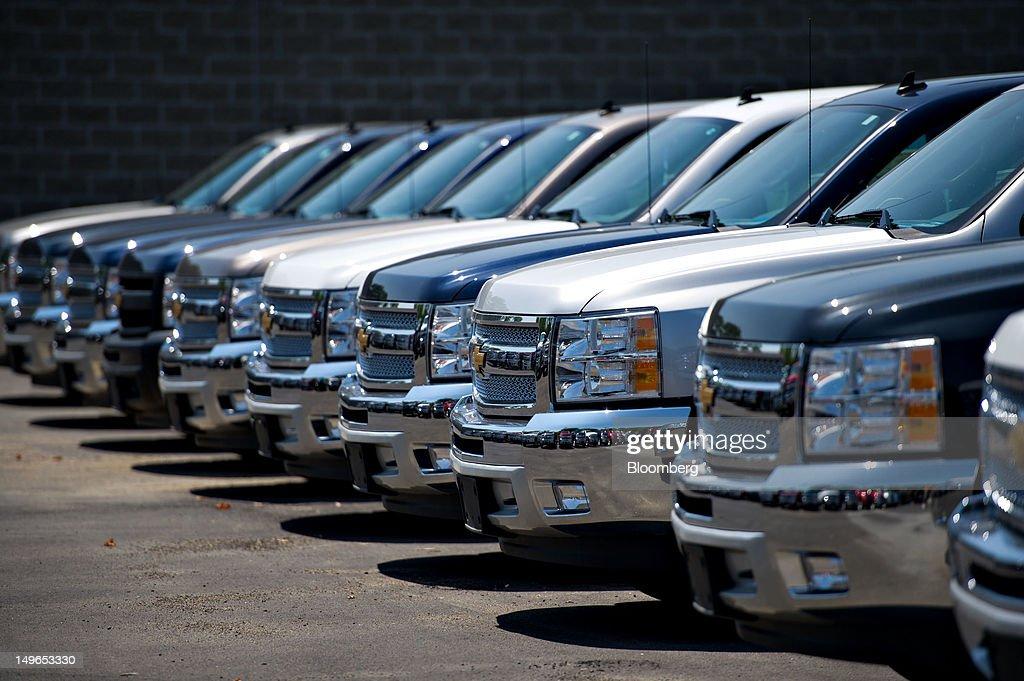 Chevy Silverado Pickup Trucks Sit On Display At A General