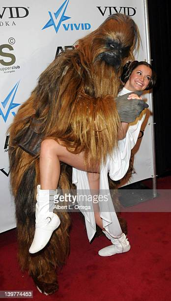 Chewbacca and adult actress Allie Haze arrive for the Premiere Of Vivid Entertainment's 'Star Wars XXX A Porn Parody' held at SupperClub on February...