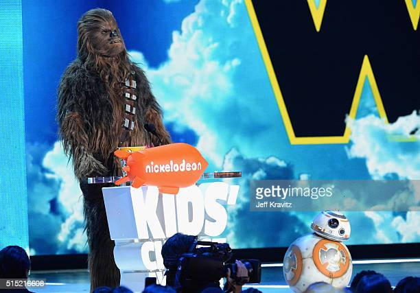 Chewbacca and BB8 onstage during Nickelodeon's 2016 Kids' Choice Awards at The Forum on March 12 2016 in Inglewood California
