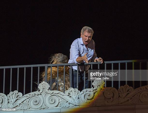 Chewbacca and Harrison Ford are seen at 'Jimmy Kimmel Live' on October 29 2015 in Los Angeles California
