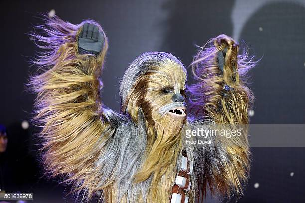Chewbacca attends the European Premiere of 'Star Wars' The Force Awakens at Leicester Square on December 16 2015 in London England