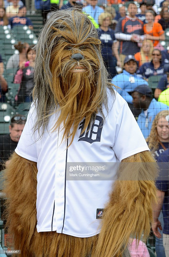 Chewbacca looks on while wearing a Detroit Tigers jersey during Star Wars Night before the game between the Detroit Tigers and the New York Yankees at Comerica Park on June 2, 2012 in Detroit, Michigan. The Tigers defeated the Yankees 4-3.