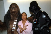 Chewbacca Queen Latifah and Darth Vader during Nickelodeon's 18th Annual Kids Choice Awards Backstage and Audience at Pauley Pavillion in Los Angeles...