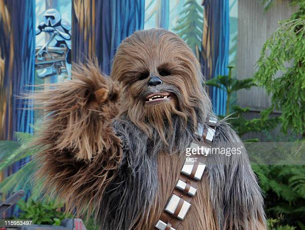 Chewbacca the Wookiee from 'Star Wars' greets the press at the reopening of 'Star Tours' at Walt Disney World in Orlando Florida on May 20 2011