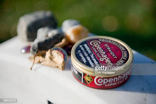Chewing tobacco left at the grave Marine Gunnery Sgt Terry Ball in Section 60 at Arlington National Cemetery Ball died on August 5 2005 from an IED...