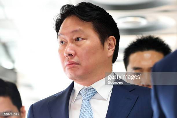 Chey Taewon chairman of SK Holdings Co arrives at the Seoul Central District Court in Seoul South Korea on Thursday June 22 2017 South Korean...