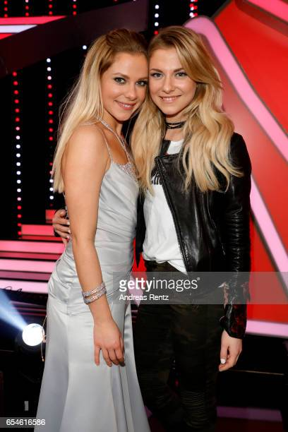 Cheyenne and Valentina Pahde pose after the 1st show of the tenth season of the television competition 'Let's Dance' on March 17 2017 in Cologne...