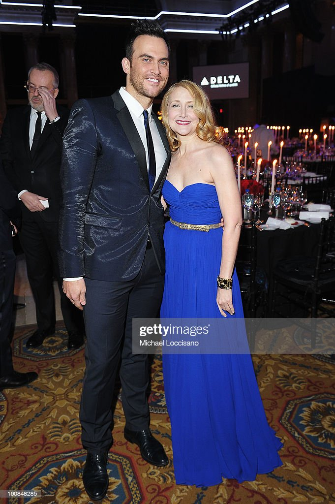 Cheyenne Jackson (L) and Patricia Clarkson attend the amfAR New York Gala to kick off Fall 2013 Fashion Week at Cipriani Wall Street on February 6, 2013 in New York City.