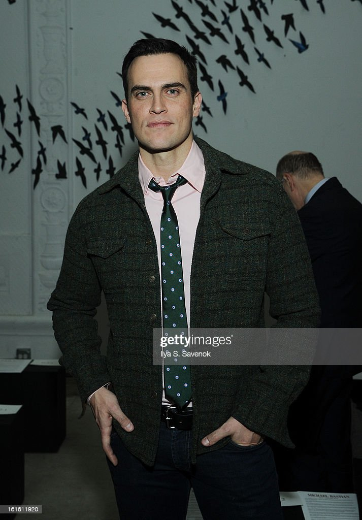 <a gi-track='captionPersonalityLinkClicked' href=/galleries/search?phrase=Cheyenne+Jackson&family=editorial&specificpeople=216481 ng-click='$event.stopPropagation()'>Cheyenne Jackson</a> attends the Michael Bastian fall 2013 fashion show during Mercedes-Benz Fashion Week on February 12, 2013 in New York City.