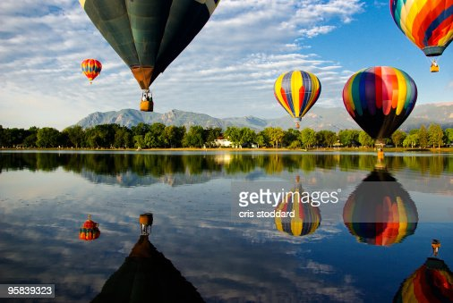 Cheyenne Mountain and Hot Air Balloons : Stock Photo