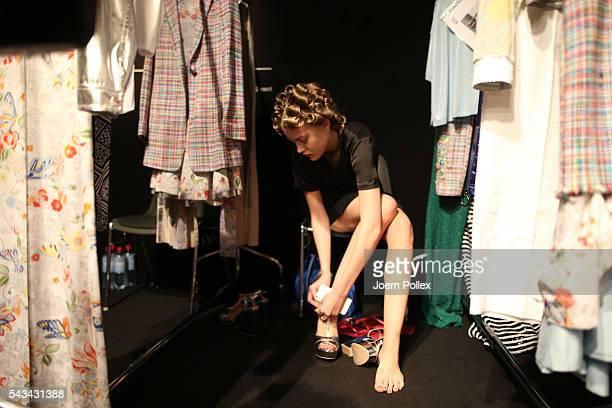 Cheyenne Ochsenknecht is seen backstage ahead of the Riani show during the MercedesBenz Fashion Week Berlin Spring/Summer 2017 at Erika Hess...