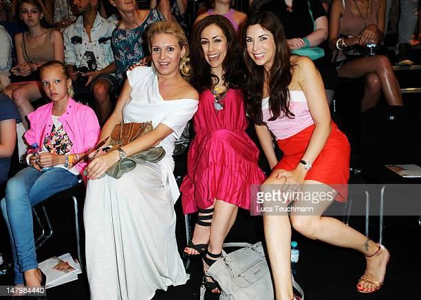 Cheyenne Ochsenknecht Magdalena Brzeska Anastasia Zampounidis and Alexandra Polzin arrive for the Minx By Eva Lux Show at MercedesBenz Fashion Week...
