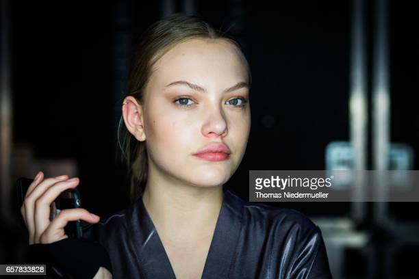 Cheyenne Ochsenknecht pose prior to the sOliver THE FUSION COLLECTION Fashion Show at Festhalle on March 25 2017 in Frankfurt am Main Germany