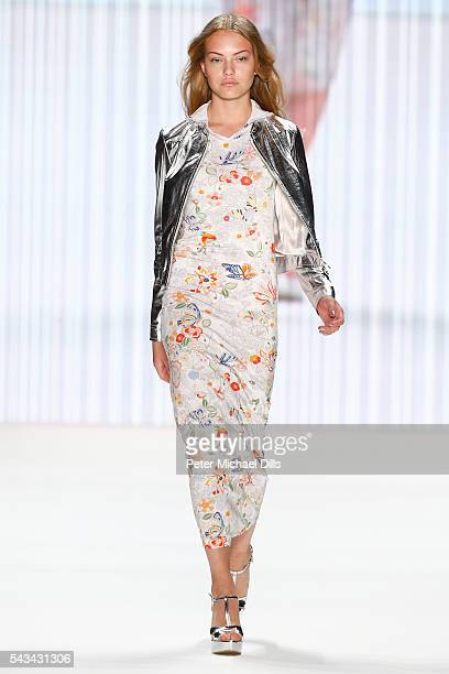 Cheyenne Ochsenknecht walks the runway at the Riani show during the MercedesBenz Fashion Week Berlin Spring/Summer 2017 at Erika Hess Eisstadion on...