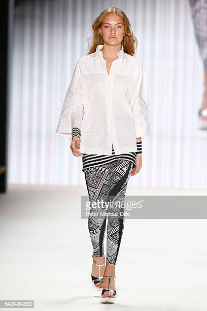 Cheyenne Ochsenknecht walks the runway at the Riani show during the MercedesBenz Fashion Week Berlin Spring/Summer 2017 at Erika Hess Eisstadion on...
