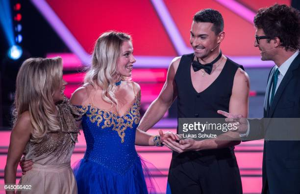 Cheyenne Pahde and Andrezj Cibis react on stage during the preshow 'Wer tanzt mit wem Die grosse Kennenlernshow' of the television competition 'Let's...
