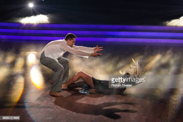 Cheyenne Pahde and Andrzej Cibis perform on stage during the 4th show of the tenth season of the television competition 'Let's Dance' on April 7 2017...
