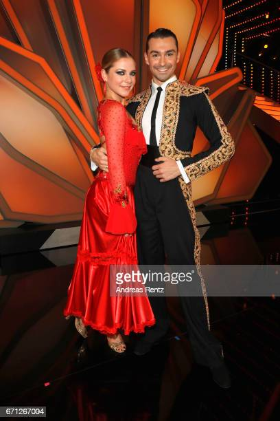 Cheyenne Pahde and Andrzej Cibis pose after the 5th show of the tenth season of the television competition 'Let's Dance' on April 21 2017 in Cologne...