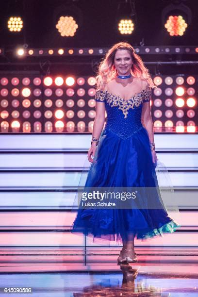 Cheyenne Pahde arrives on stage during the preshow 'Wer tanzt mit wem Die grosse Kennenlernshow' for the television competition 'Let's Dance' on...