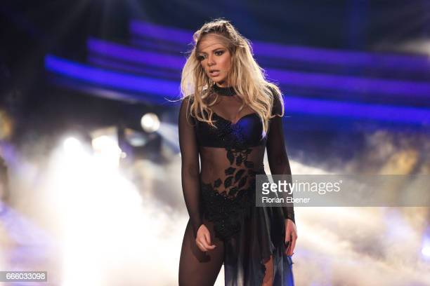 Cheyenne Pahde performs on stage during the 4th show of the tenth season of the television competition 'Let's Dance' on April 7 2017 in Cologne...