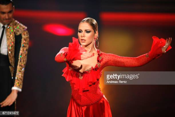 Cheyenne Pahde performs on stage during the 5th show of the tenth season of the television competition 'Let's Dance' on April 21 2017 in Cologne...