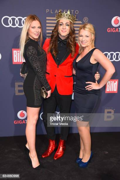 Cheyenne Pahde Riccardo Simonetti and Iris Mareike Steen attend the PLACE TO B Party at Borchardt on February 11 2017 in Berlin Germany