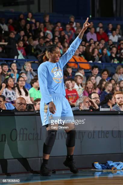 Cheyenne Parker of the Chicago Sky celebrates from the sidelines during the game against the Washington Mystics on May 24 2017 at the Allstate Arena...