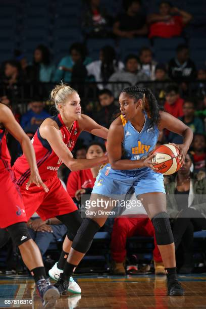 Cheyenne Parker of the Chicago Sky handles the ball against Elena Delle Donne of the Washington Mystics on May 24 2017 at the Allstate Arena in...