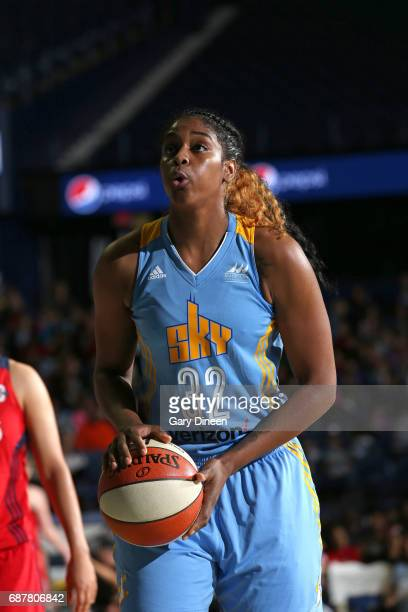 Cheyenne Parker of the Chicago Sky shoots a free throw against the Washington Mystics on May 24 2017 at the Allstate Arena in Rosemont Illinois NOTE...