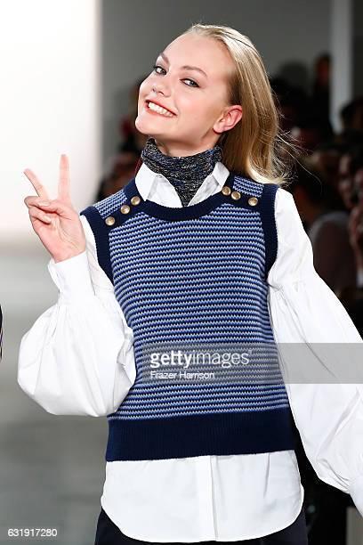 Cheyenne Savannah Ochsenknecht walks the runway at the Riani show during the MercedesBenz Fashion Week Berlin A/W 2017 at Kaufhaus Jandorf on January...