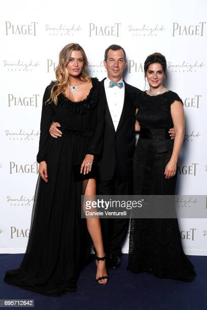 Cheyenne Tozzi Philippe LeopoldMetzger and Chabi Nouri attend Piaget Sunlight Journey Collection Launch on June 13 2017 in Rome Italy