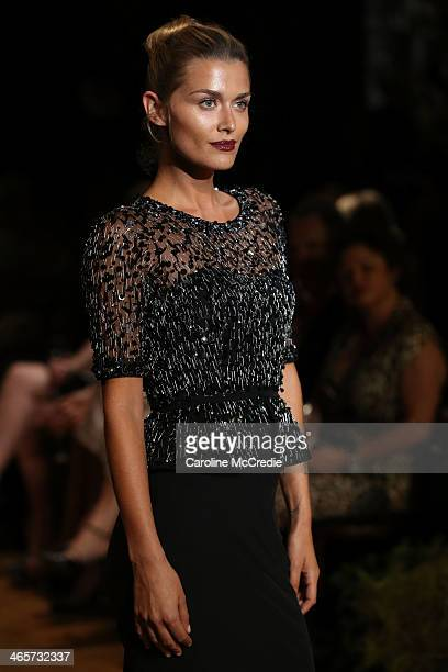 Cheyenne Tozzi showcases designs by Rachel Gilbert at the David Jones A/W 2014 Collection Launch at the David Jones Elizabeth Street Store on January...