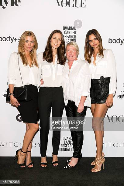 Cheyenne Tozzi Valeria Erokhina Carlotta Moye and Samantha Harris arrives at the ORCF White Style At Quay on April 14 2014 in Sydney Australia...
