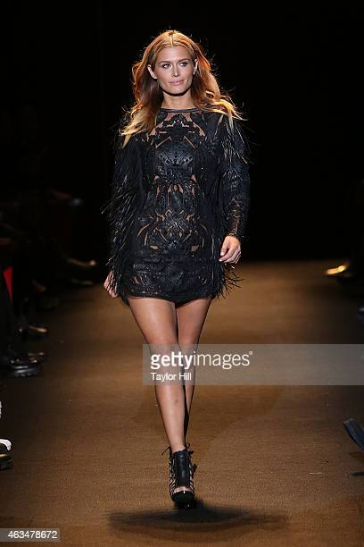Cheyenne Tozzi walks the runway during Naomi Campbell's Fashion For Relief 2015 fall fashion show at The Theater at Lincoln Center on February 14...