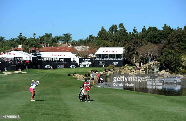 Cheyenne Woods hits off the 18th fairway during Round One of the LPGA KIA Classic at the Aviara Golf Club on March 26 2015 in Carlsbad California