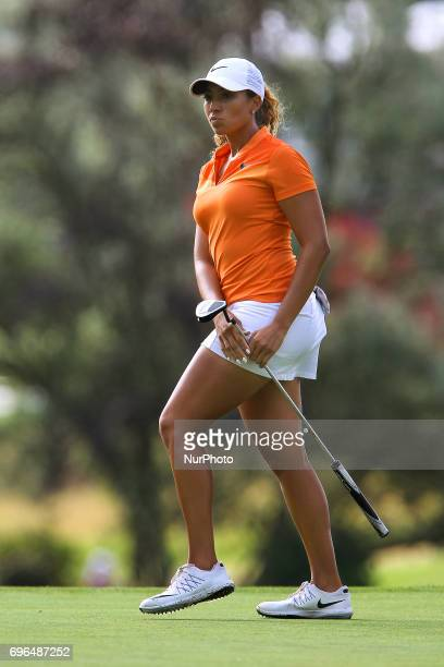 Cheyenne Woods of Phoenix Arizona reacts after putting on the 12th green during the first round of the Meijer LPGA Classic golf tournament at...