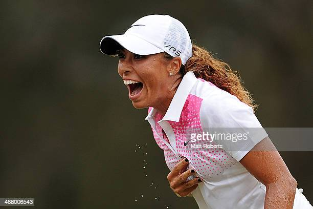 Cheyenne Woods of the United States celebrates winning the 2014 Ladies Masters at Royal Pines Resort on February 9 2014 on the Gold Coast Australia