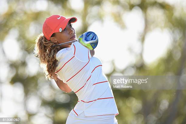 Cheyenne Woods of the United States hits her tee shot during day one of the RACV Ladies Masters at Royal Pines Resort on February 25 2016 on the Gold...