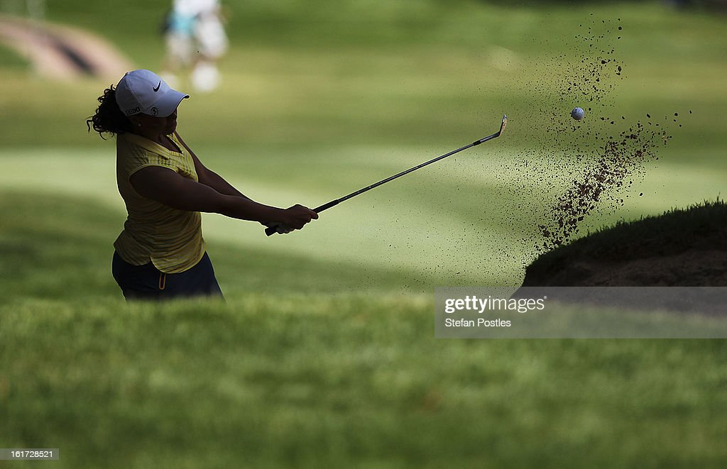 Cheyenne Woods of the United States hits out of a bunker during day two of the ISPS Handa Australian Open at Royal Canberra Golf Club on February 15, 2013 in Canberra, Australia.