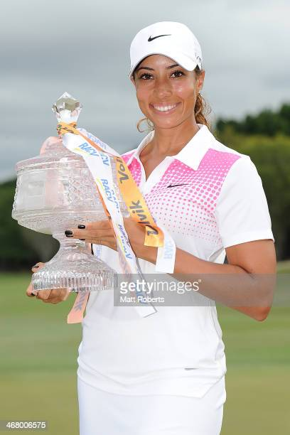 Cheyenne Woods of the United States holds the winners trophy after day four of the 2014 Ladies Masters at Royal Pines Resort on February 9 2014 on...