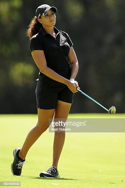 Cheyenne Woods of the United States looks on after her shot on the 15th hole during the Australian Ladies Masters at Royal Pines Resort on February 2...