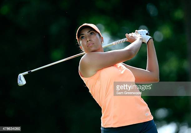 Cheyenne Woods of the United States plays a shot on the third hole during the first round of the Walmart NW Arkansas Championship Presented by PG at...