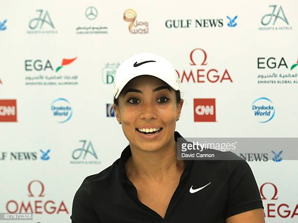 Cheyenne Woods of the United States talking to the media during her press conference prior to teeing off during the proam as a preview for the 2016...