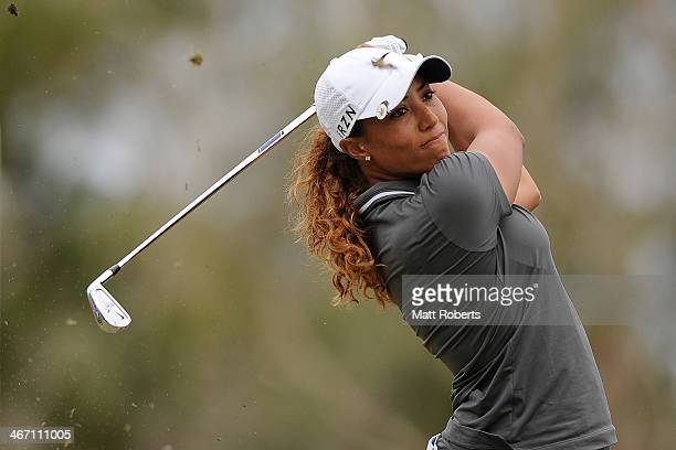 Cheyenne Woods of the United States tees off during day one of the 2014 Ladies Masters at Royal Pines Resort on February 6 2014 on the Gold Coast...