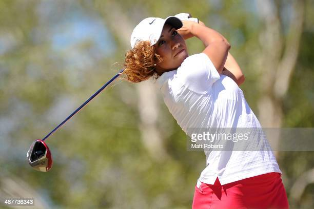 Cheyenne Woods of the United States tees off on the 10th hole during day three of the 2014 Ladies Masters at Royal Pines Resort on February 8 2014 on...