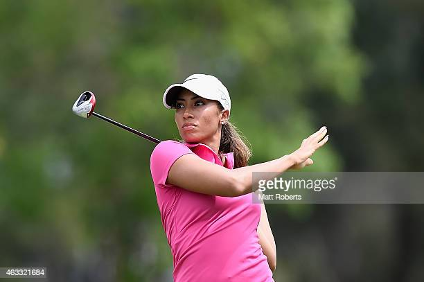 Cheyenne Woods of the United States watches her approach shot on the 3rd hole during day two of the 2015 Ladies Masters at Royal Pines Resort on...