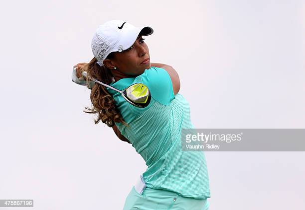 Cheyenne Woods of the USA takes her first shot on the 13th hole during the first round of the Manulife LPGA Classic at the Whistle Bear Golf Club on...