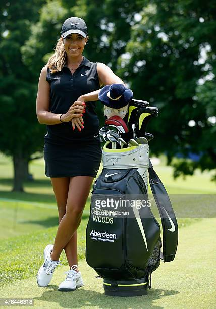Cheyenne Woods poses on the second tee during the proam prior to the start of the KPMG Women's PGA Championship on the West Course at the Westchester...