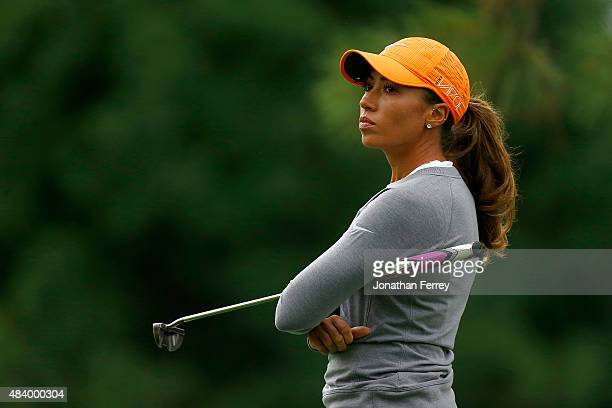 Cheyenne Woods waits on the 1st hole during the second round of the LPGA Cambia Portland Classic at Columbia Edgewater Country Club on August 14 2015...